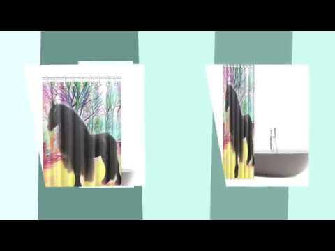 "Art Deco Horse - Shower Curtain 48""x72"""