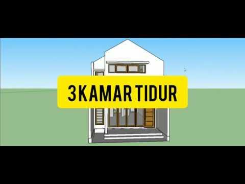 desain rumah minimalis di lahan 5x12 (3 kamar tidur) - youtube