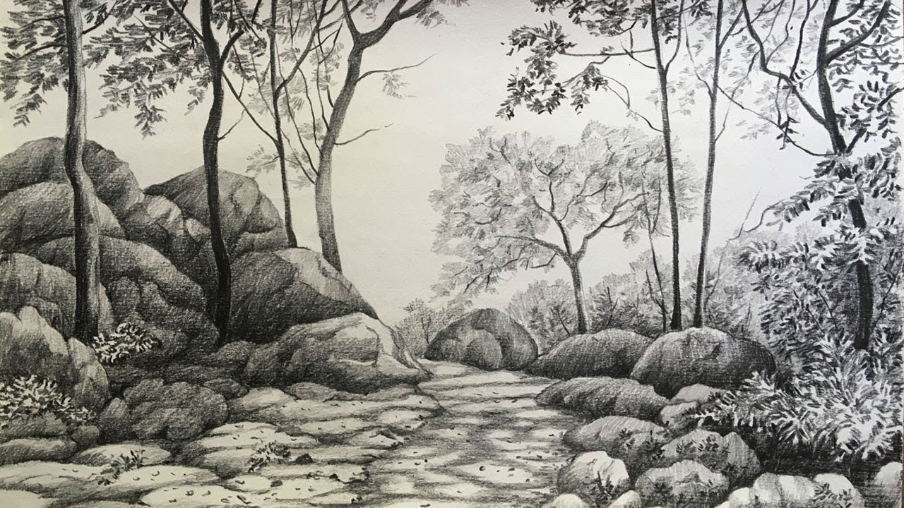 Landscape drawing in pencil | forest drawing | pencil ...