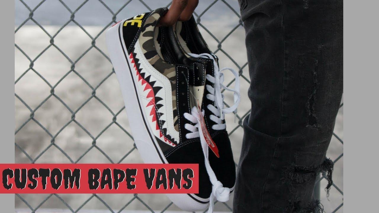 2a76f79e4d4 DIY custom Bape Shark Vans Review On Feet Cloutdrop - YouTube