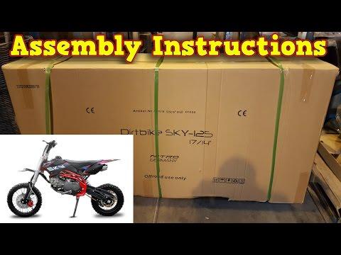 Pit Bike, Dirt Bike 125ccm - Unboxing - Full Assembly Instruction - Sky 125ccm Nitro Motors