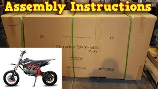 Pit Bike, Dirt Bike 125ccm - Unboxing - Full Assembly Instruction - Sky 125ccm Nitro Motors