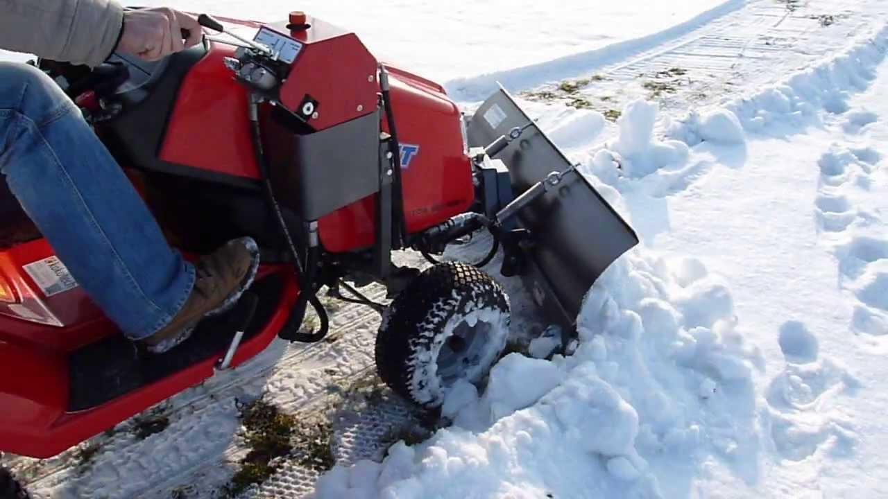 rasentraktor mit hydraulischem schneeschild youtube