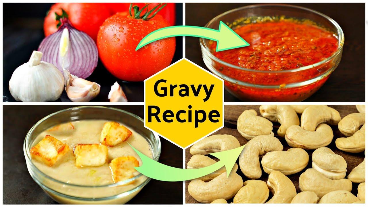4 Basic Curry GRAVY Recipes | Hotel Style Veg-Non Veg Gravy | CookWithNisha