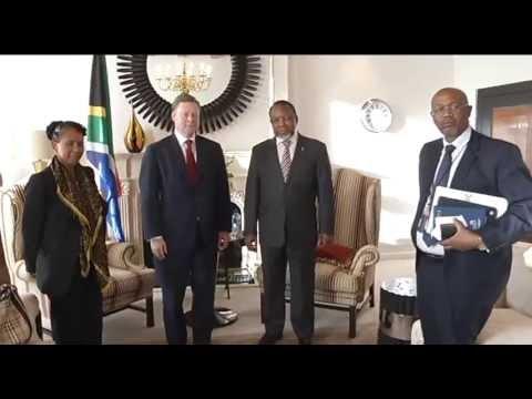 Deputy President Kgalema Motlanthe receives courtesy call from BP CEO Iain Conn.