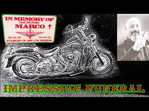 IMPRESSIVE FUNERAL OF A.M.F BELGIUM FOUNDER MARCO VJESTICA  (A.M.F = AIRBORNE MOTORCYCLE FRIENDS)