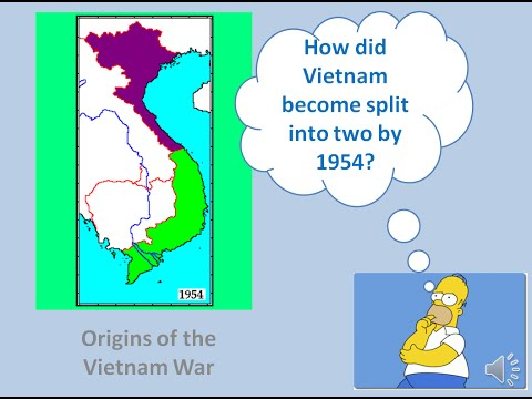 How did Vietnam become split into North and South by 1954?