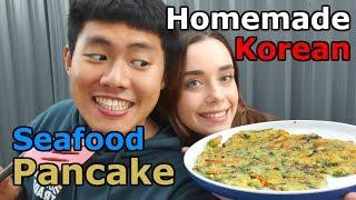 [AMWF] Korean seafood pancake cooking and MUKBANG | how to cook korean pancake | korean food cooking