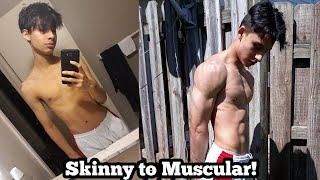 1 Year CRAZY Transformation At Home! | Skinny to Muscular (17 years old)