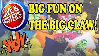 CLAWING at Dave and Busters Arcade on the BIG CLAW MACHINE | Grab N Win | Tuitti Fruitti Bonus Video