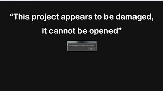 the project appears to be damaged it cannot be opened premiere pro cc