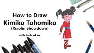 How to Draw and Color Kimiko Tohomiko from Xiaolin Showdown with ProMarkers [Speed Drawing]