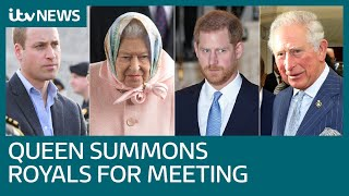 Queen Summons Charles, William And Harry To Sandringham To Resolve Crisis | Itv News