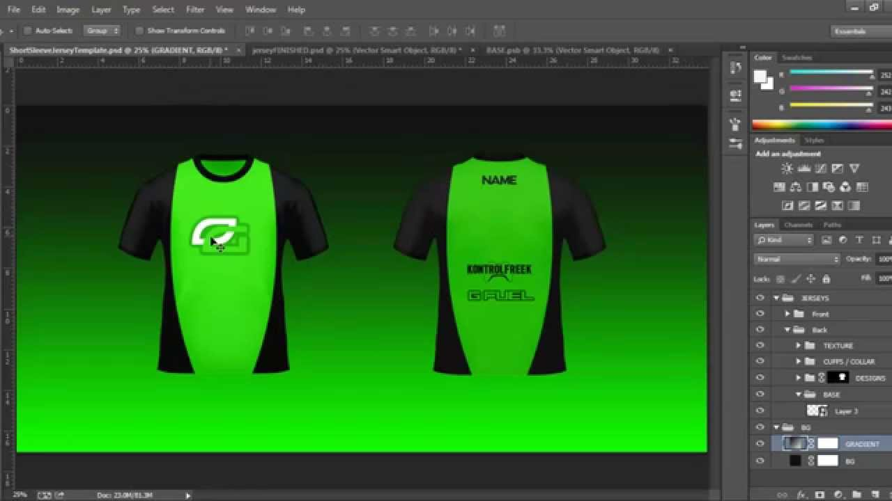 Short Sleeved PSD - Jersey Tutorial (+ Template!) - YouTube