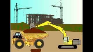 Строительная техника, машины для детей. Машинки. Трактор, грузовик, экскаватор, погрузчик.
