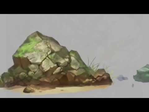 landscape coast rock artwork for game development speed drawing with