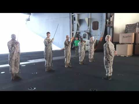 U S  Marines Practice Sword and Guidon Drill Movements