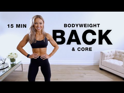 15 Min BODYWEIGHT BACK and CORE WORKOUT at Home   No Weights