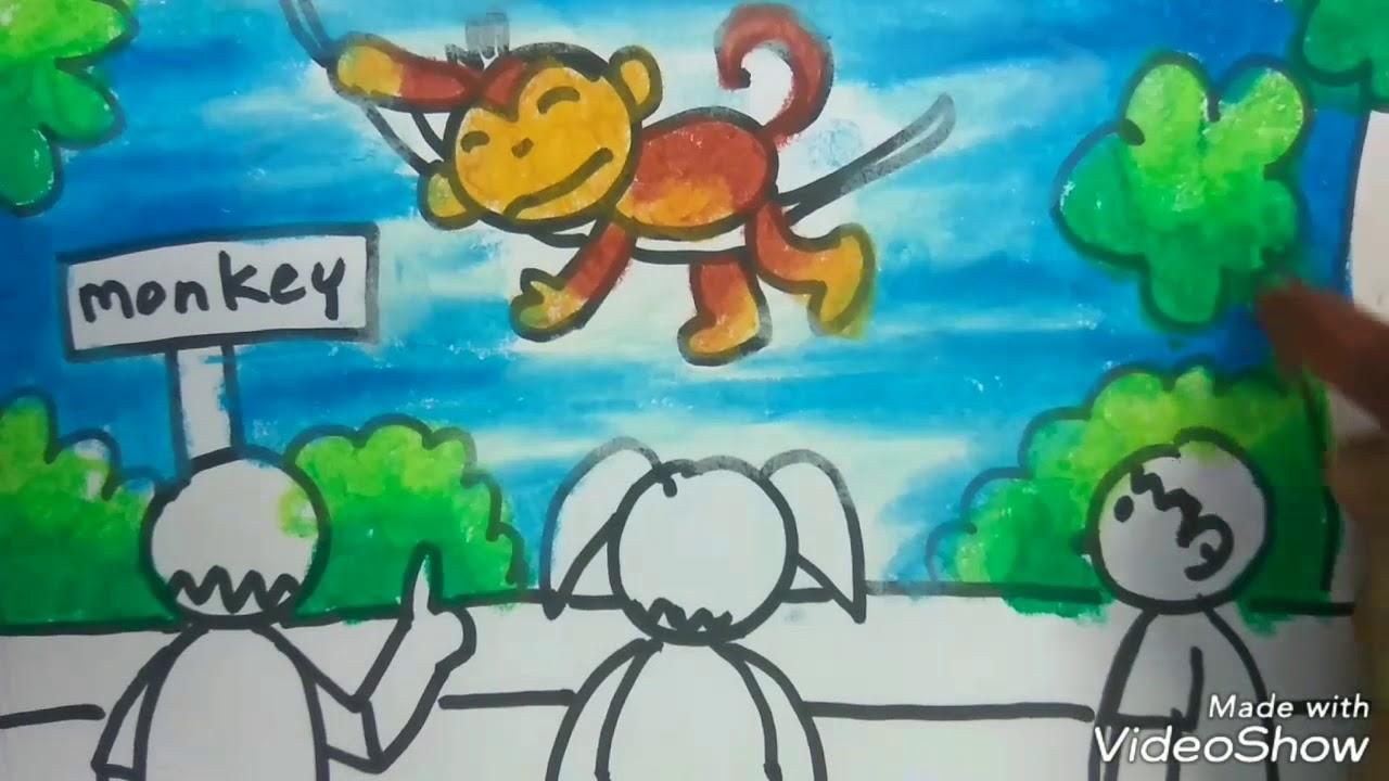 Cara Menggambar Monyet Di Kebun Binatang Crayon Gradasi Untuk Anak