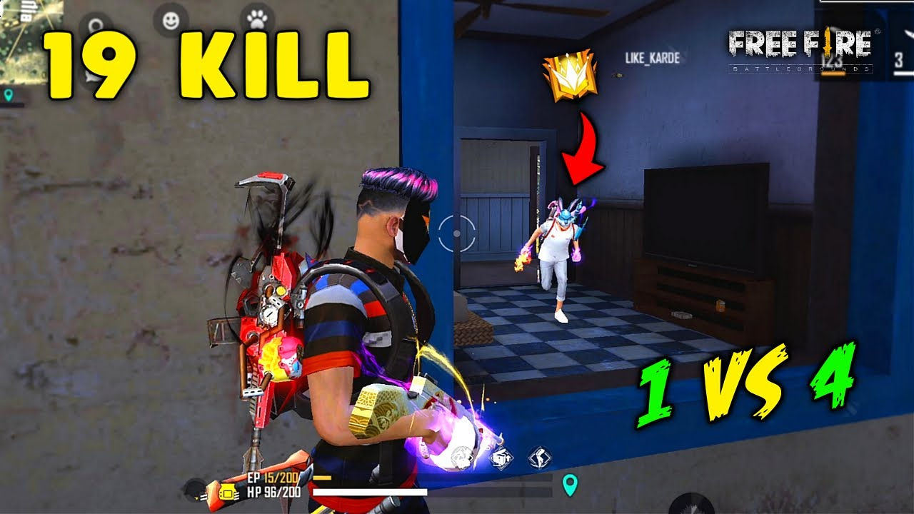 Solo vs Squad Extreme Level 19 Kill OverPower Gameplay Must Watch - Garena Free Fire