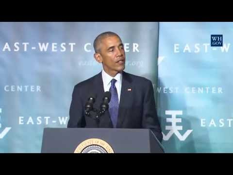 President Obama speaking at East-West Center