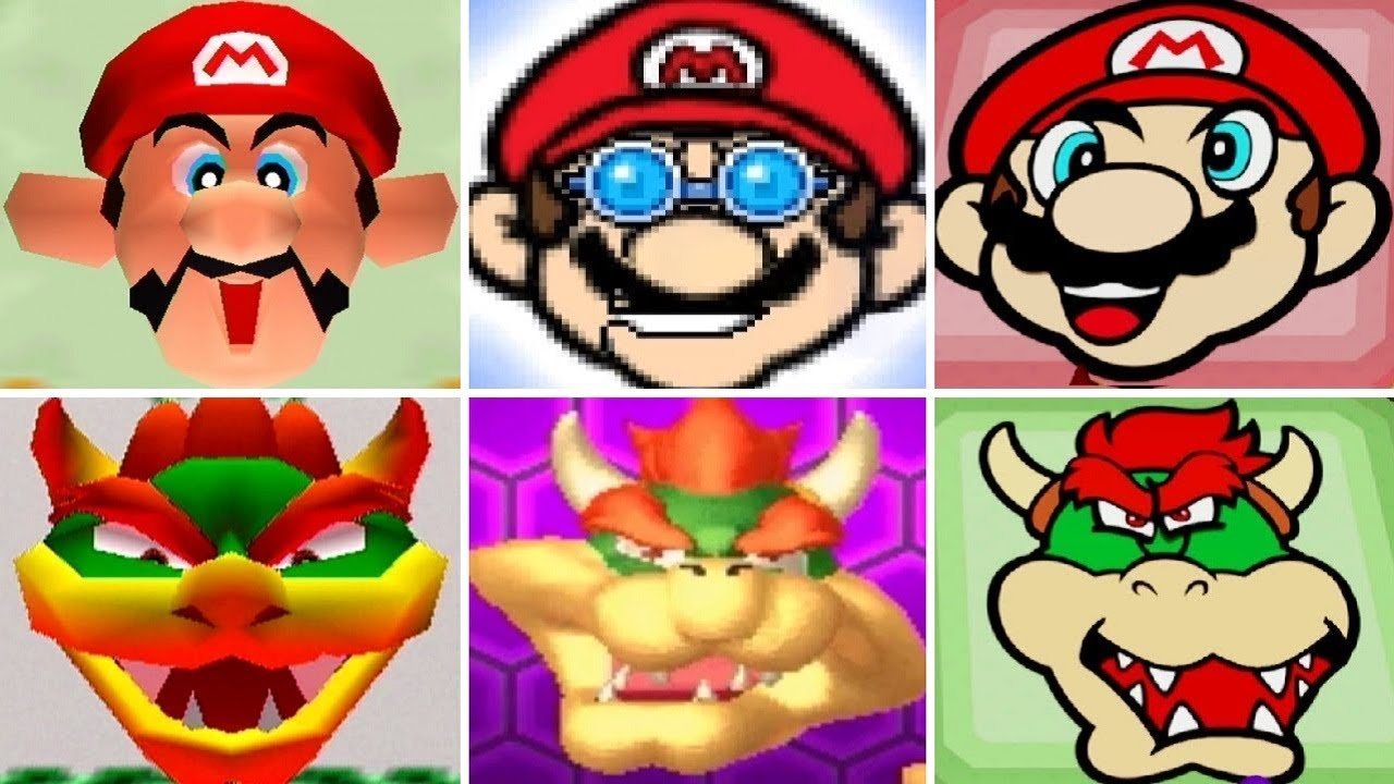 Evolution of Mario and Bowser Face Minigames