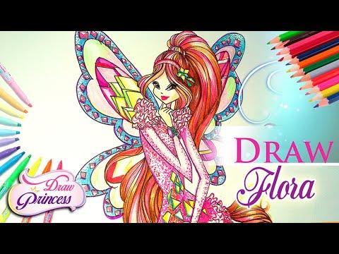How to draw winx club flora bloomix drawing tutorial draw princess youtube - Princesse winx ...