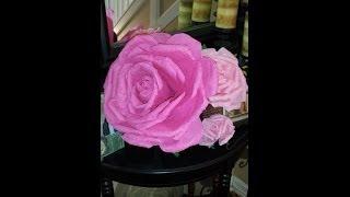 Huge Crepe Paper Rose full length. Thumbnail