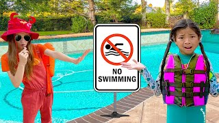 Emma and Lyndon Learn about Swimming Pool Rules | Kids Swim