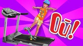 Скейт - пенни на беговой дорожке Скейтбординг для новичков в домашних условиях