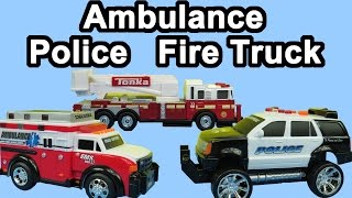 Toy Ambulance vehicle and Police car and Fire Truck unboxing presentation playing
