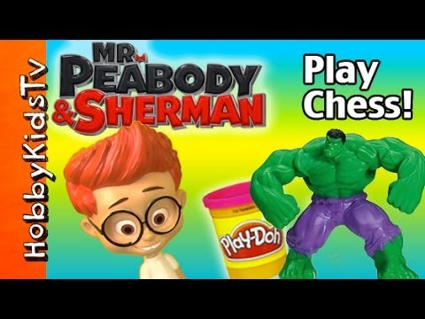 Sherman Plays SMASH Chess with Incredible Hulk! Play-Doh Mr. Peabody SuperHero Game by HobbyKidsTV