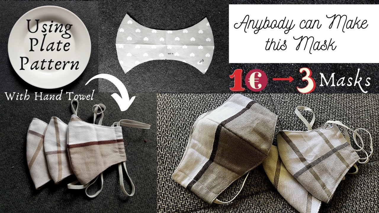 Anybody can make this Face Mask with Hand/Kitchen Towel | 3 Face masks in 1 Euro | DIY Face Mask