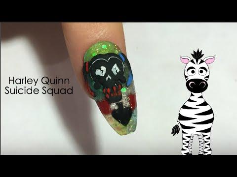Harley Quinn Squad Acrylic Nail Art Design Tutorial Notpolish