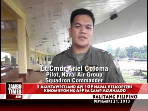 Balitang Pilipino : 3 AgustaWestlan naval helicopters ang kinomisyon ng AFP sa Camp Aguinaldo