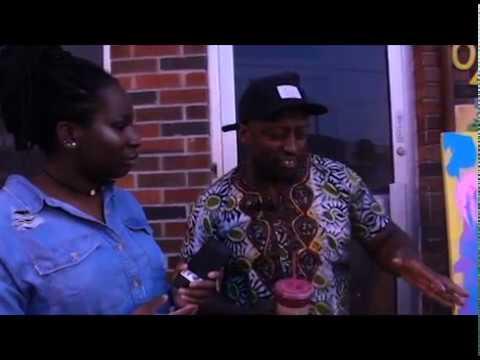 Kofi Frempong paints live at the Supernatural juice bar in Toronto's Oakwood Village