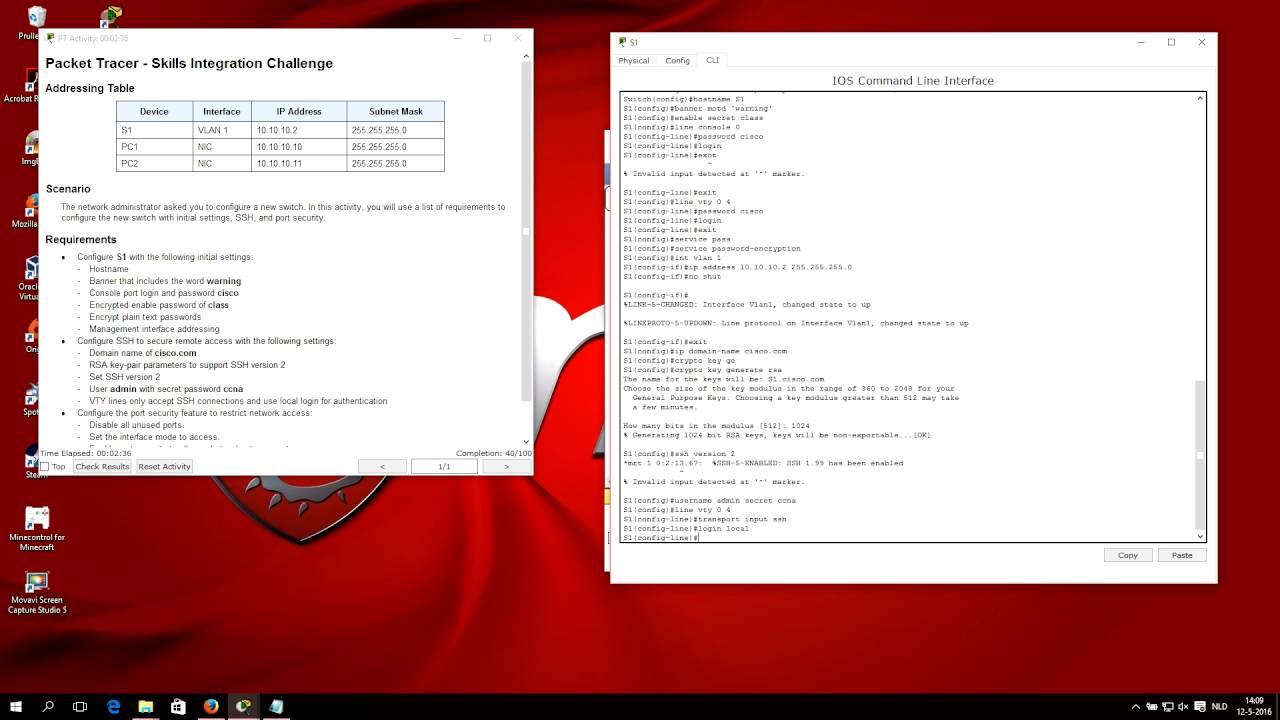 CCNA 2 packet tracer 2 3 1 2 - Skills Integration Challenge