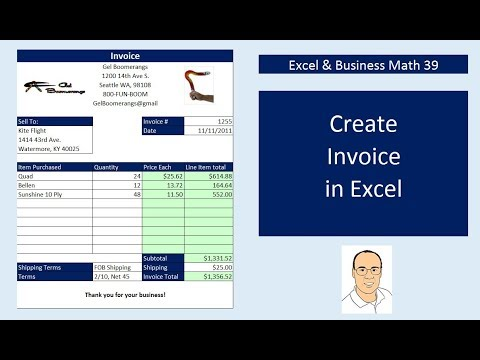 Excel  Business Math 39 Create Excel Invoices, Data Validation