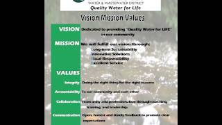 Pinery Water & Wastewater District   Vision, Mission, Values for website