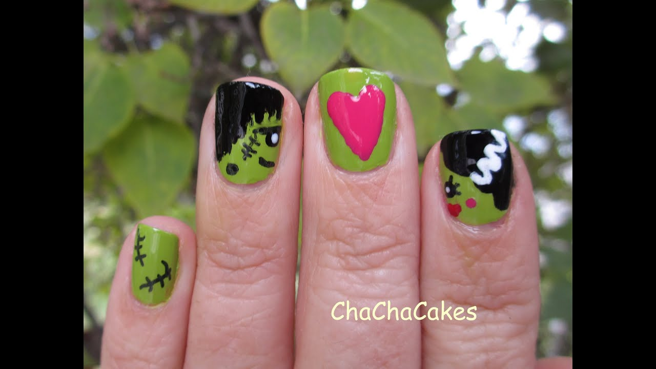 Halloween nails frankenstein his bride youtube prinsesfo Gallery