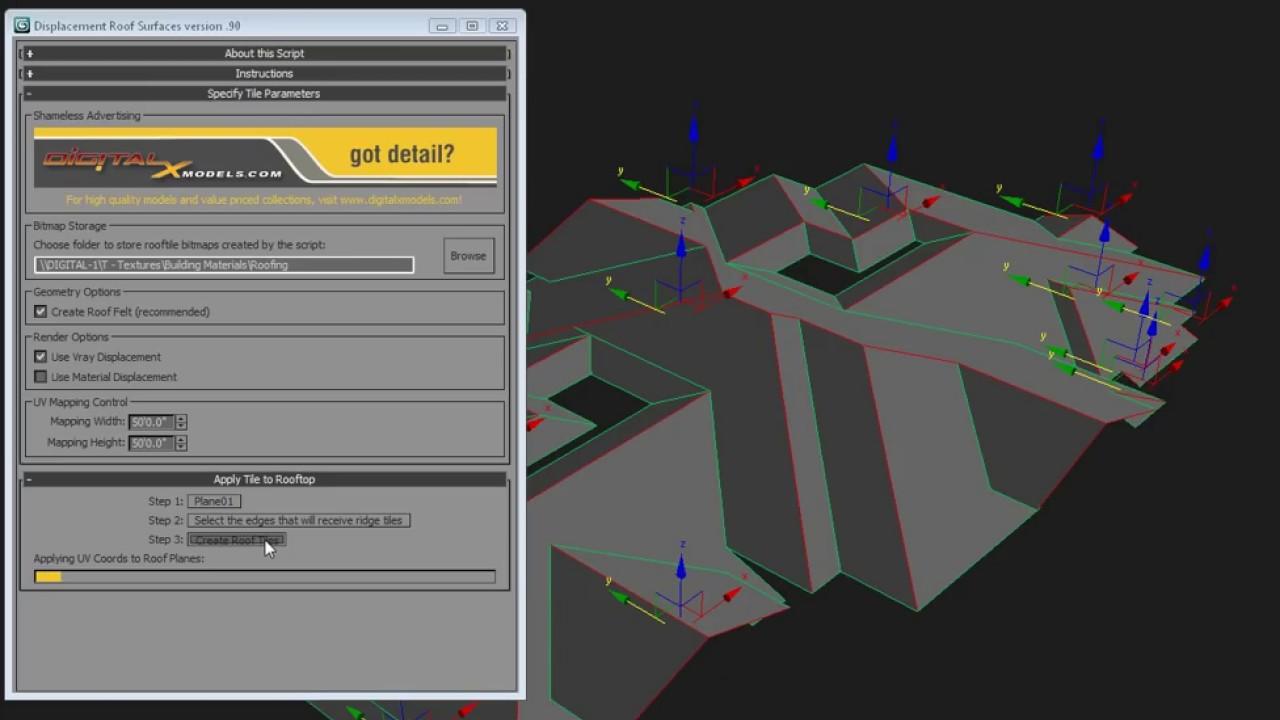 Free Maxscript - Displacement Roof Surfaces   DigitalxModels com