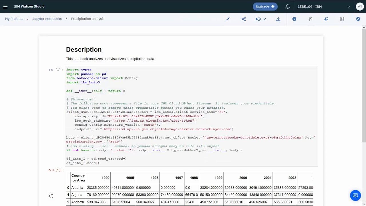 Creating notebooks - IBM Watson