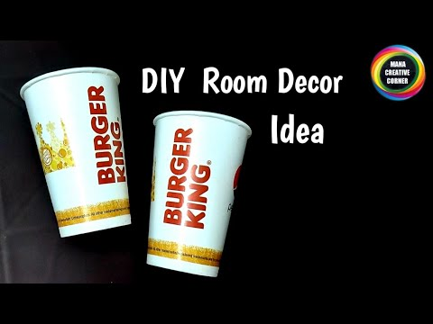 DIY #Room Decor idea using paper glass and plastic rope #Disposable paper cups craft idea #Bestoutof