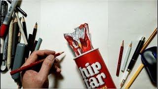 色鉛筆でチップスターを描いてみた Draw realistic chips bags