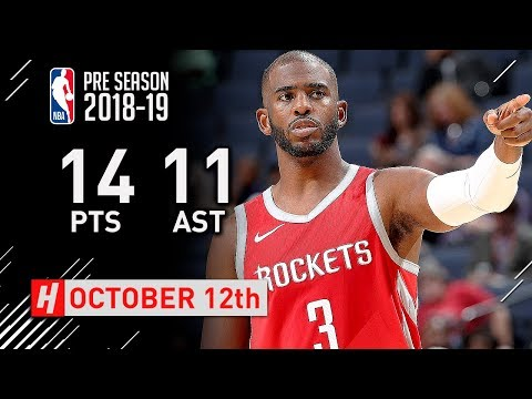 Chris Paul Full Highlights Rockets vs Grizzlies 2018.10.12 - 14 Pts, 11 Assists