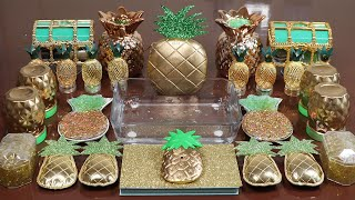 """Pineapple"" Mixing'GOLDGREEN 'Makeup and glitter Into Slime!Satisfying Slime Video!"