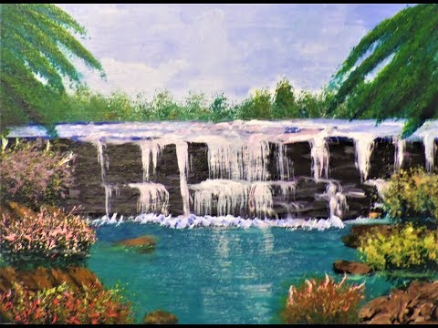 Painting amazing WATERFALLS with acrylics EASY part 1 Beginners Acrylic painting