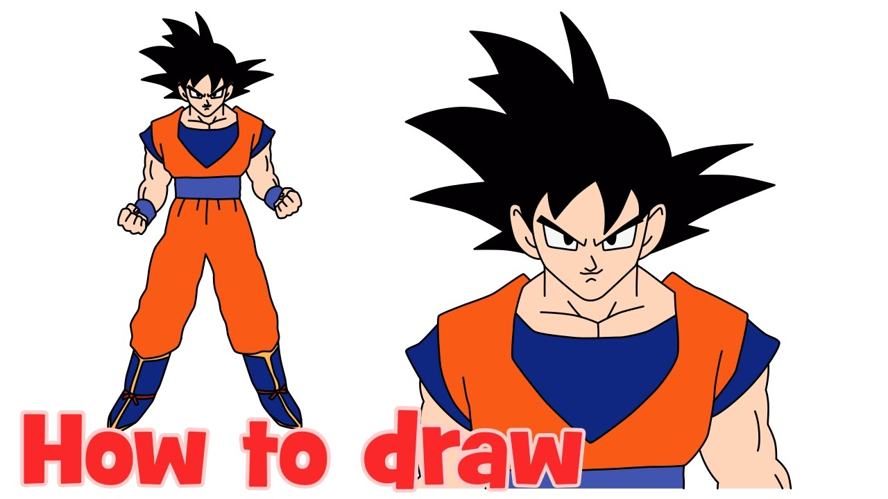 how to draw goku from dragon ball z full body step by step youtube