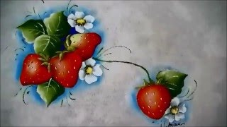 COMO PINTAR MORANGOS – HOW TO PAINT STRAWBERRIES – parte 4 de 4