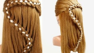 Hairstyles For Long Hair. 4 Strand Braid Hair With Ribbon